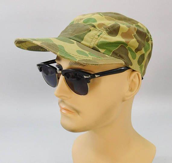 6980c3af096 1960s Vintage Camo Cap   Vintage Hunting Cap   Camo Baseball Cap   Duck  Hunter Camo