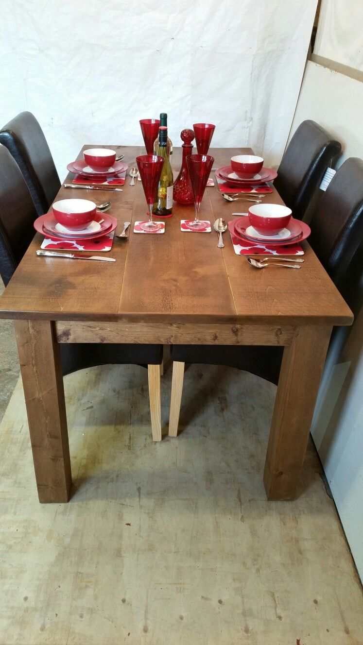 Rustic #wooden #plank #table With 4 # Faux # Leather # Chairs Entrancing Plank Dining Room Table Design Ideas