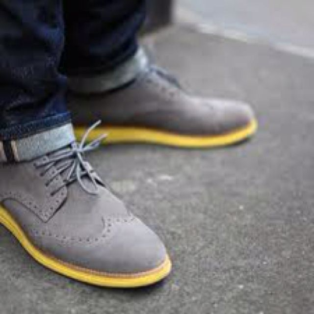 These shoes are hot! Cole Haan wingtip with the yellow soles, that's smooth!