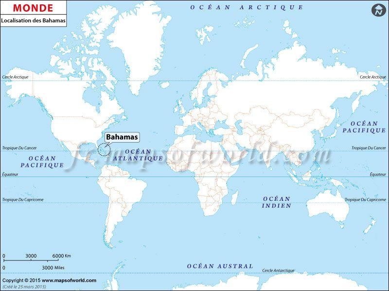 Carte Du Monde Bahamas.Localisation Des Bahamas Sur La Carte Du Monde Pays