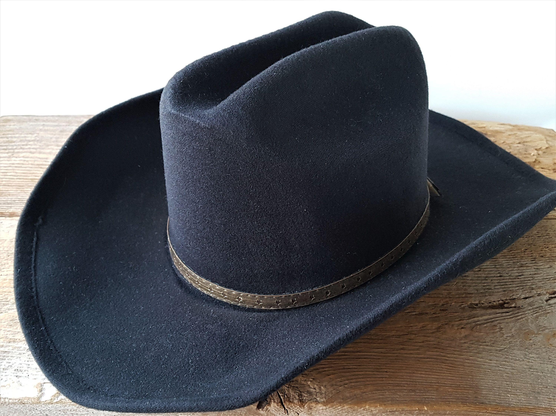 Vintage Authentic Pigalle Xxxxx Santo Nino Western Black Felt Cowboy Hat Size 6 3 4 Genuine Hecho En Mexico Mexican Felt Cowboy Hats Cowboy Hats Black Felt