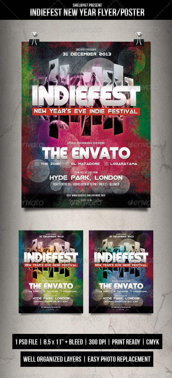 Indie Fest New Year Flyer  Poster  Indie Flyer Template And