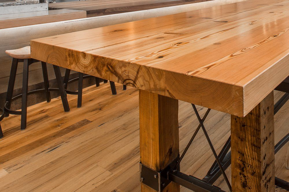 Past Custom Projects Real Edge Furniture Conference Table Reclaimed Wood Heart Pine Beam Community Farm