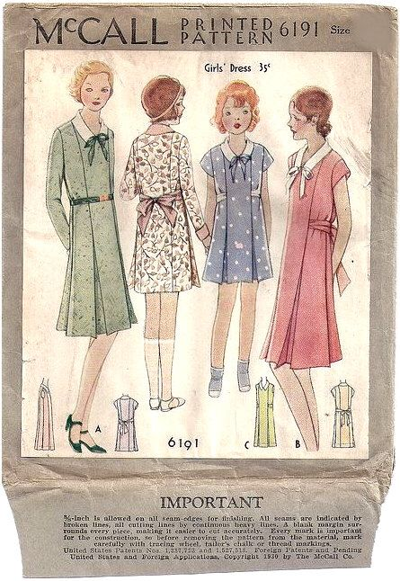 UNCUT 1930 McCall Sewing Pattern No. 6191 of a Girls Dress with ...