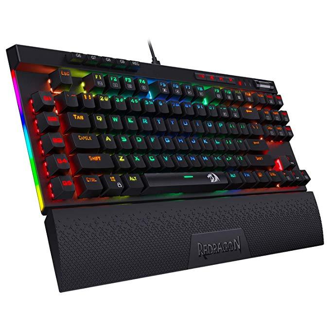 Amazon Com Redragon K587 Pro 87 Keys Compact Rgb Tkl Mechanical Gaming Keyboard Type C Keyboard With 9 Onboard Macro Keys Det Macro Keys Keyboard Wrist Rest