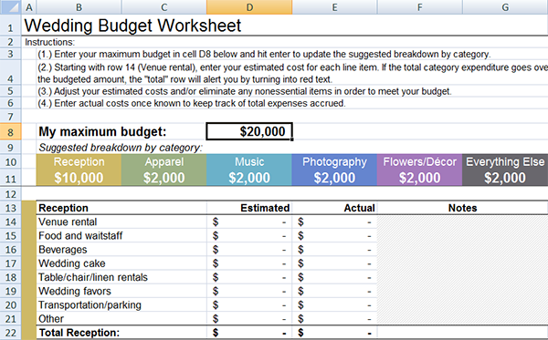 Wedding Budget Planner and Calculator Wedding budget