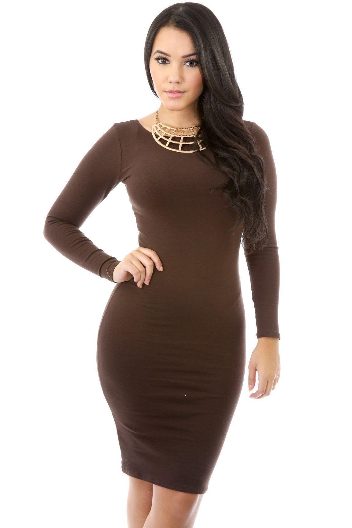 Simple fashion long sleeve cotton bodycon short dress pinterest