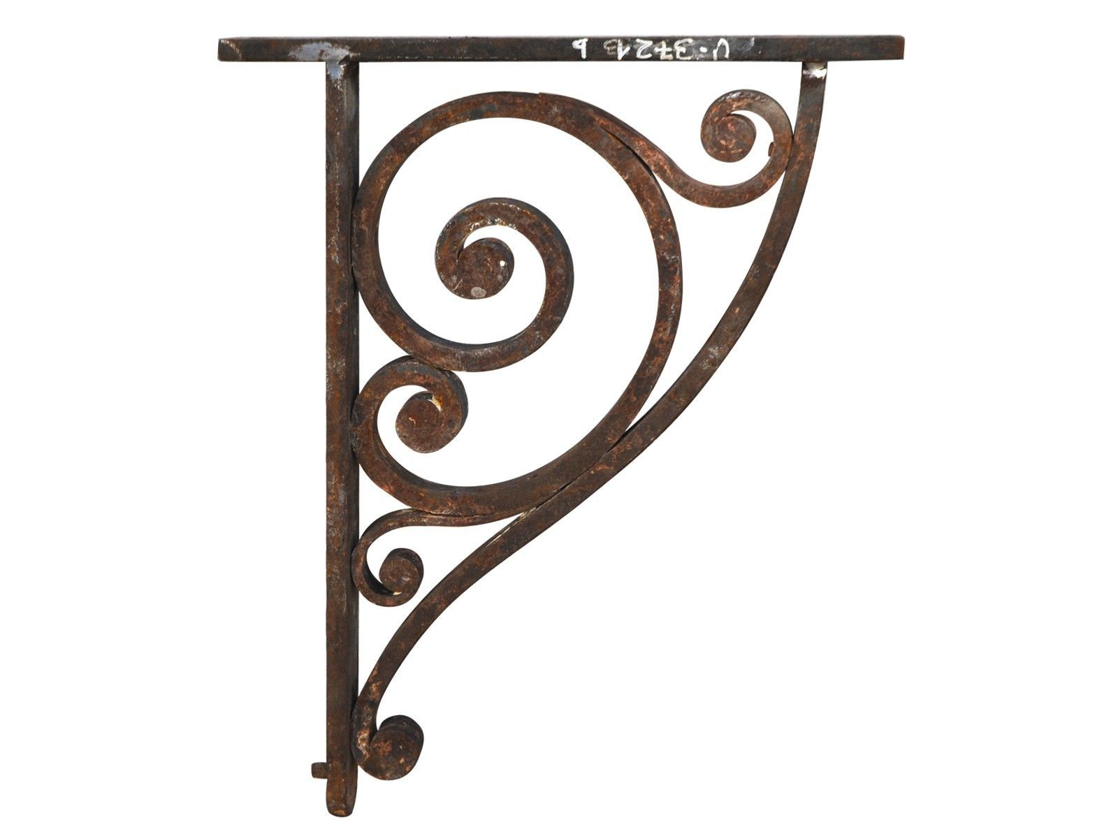 Primitive Rustic Scroll Style Hand Forged Wrought Iron Shelf ...