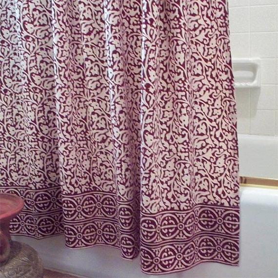 Chain Pattern Shower Curtain Batik Burgundy By Matrboomie On Etsy