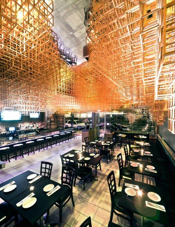 AuBergewohnlich Wooden Modern Innovative Ceilings Design By Bluarch Modernes Restaurant,  Innovativ, Innendesign, Decken,