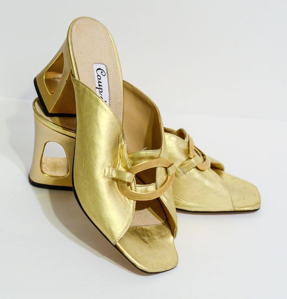 Vintage Coup d état Gold Leder Mule Slides W 6M gold Cutout Heel 6M W d61fd9