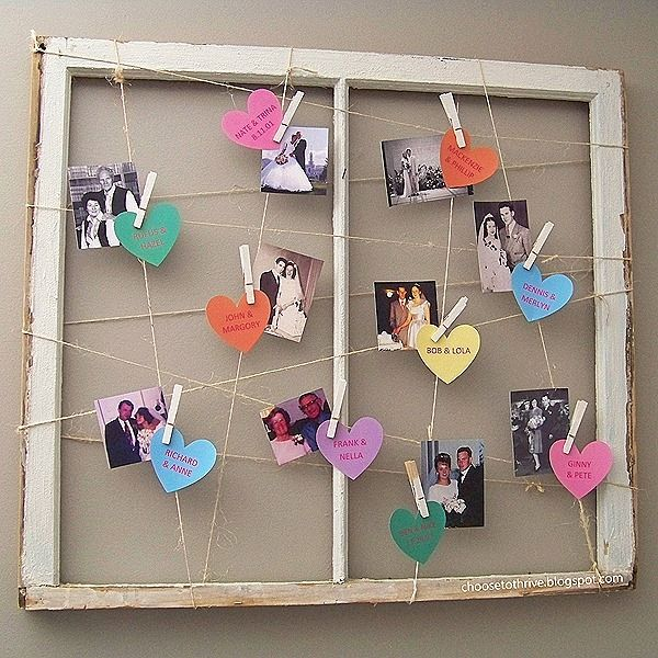 Love this for Valentines Day. Put up pictures of family and ancestors wedding pictures, with heart name and dates.