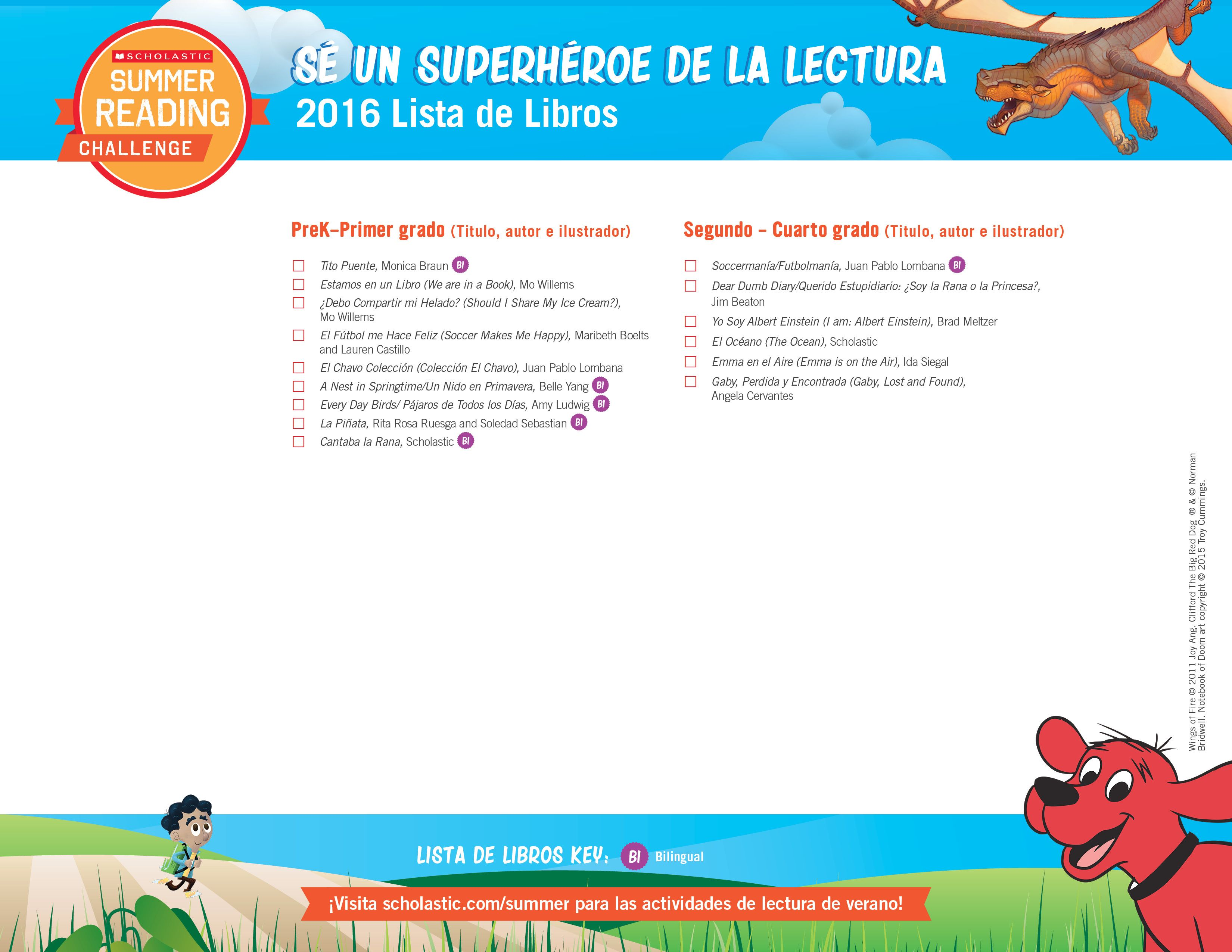 Spanish Version Presenting The 2016 Summer Reading Book List So