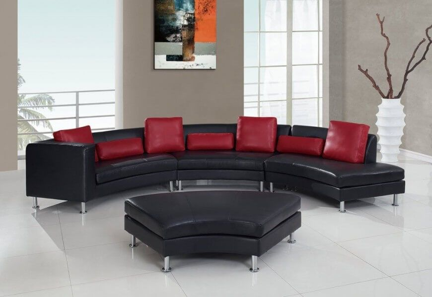 Leather Sofa, Curved Sectional Sofa Leather