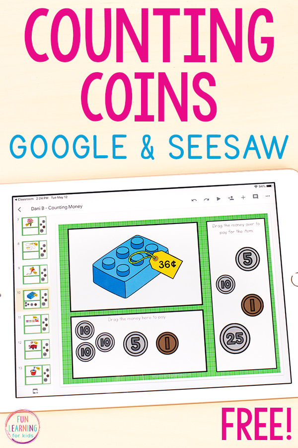 Counting Coins Money Activity for Google Slides and Seesaw