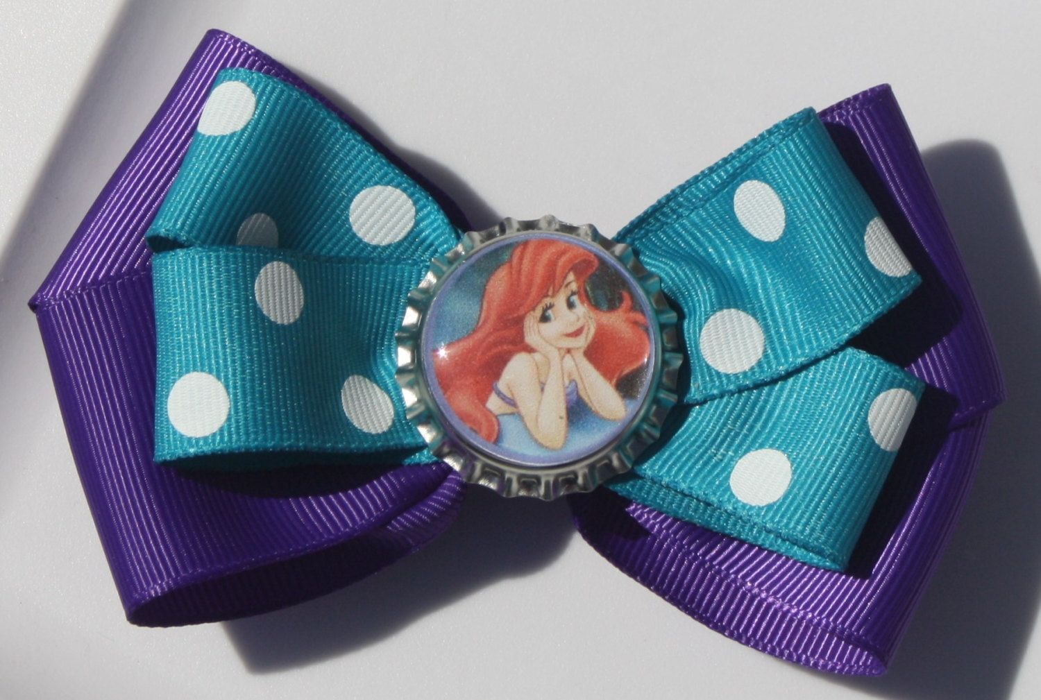 Ariel Purple and Teal Polka Dot Hair Bow by bowsforme on Etsy, $5.99