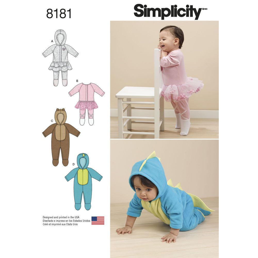 Pattern 8181 Babies\' Knit and Fleece Rompers | Simplicity Child\'s ...