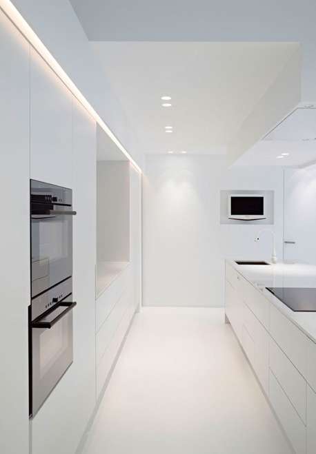Beautiful Pure Lines, All White Kitchen And Lighting Design By Delta Light _