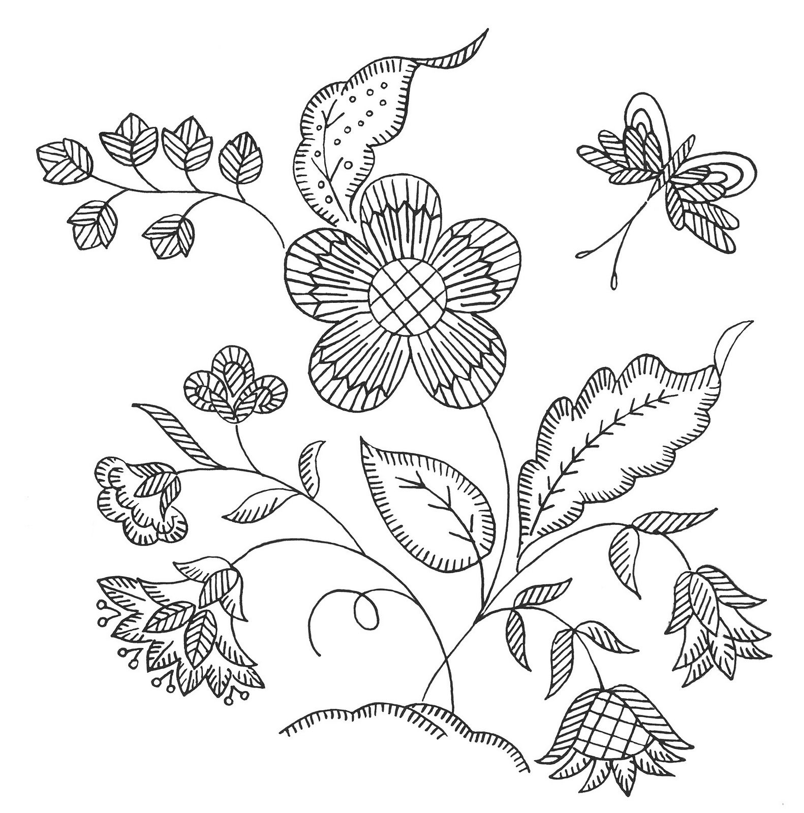 flower with butterfly | Artworks | Pinterest | Bordado, Bordado ...
