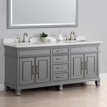 Charleston 72 Gray Double Sink Vanity By Mission Hills With
