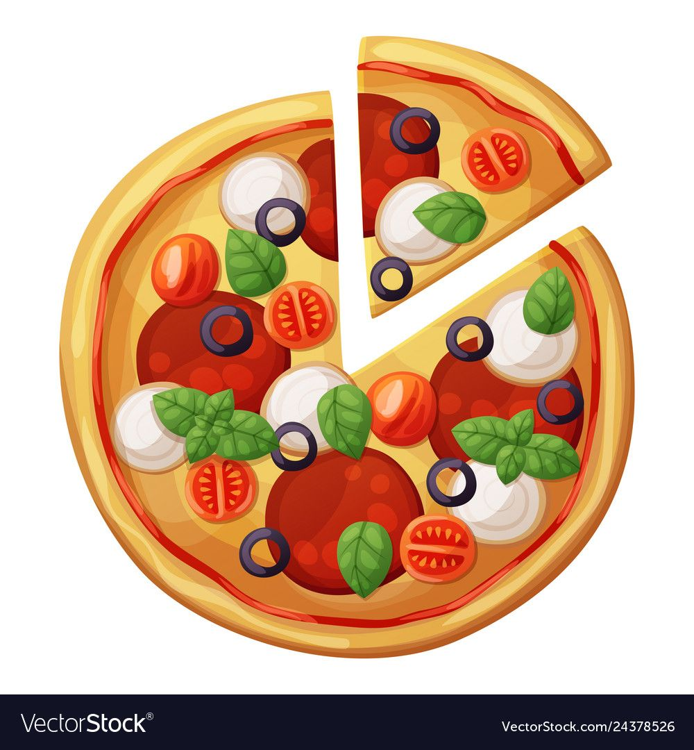 Pizza top view. Cherry tomato, sausages or salami
