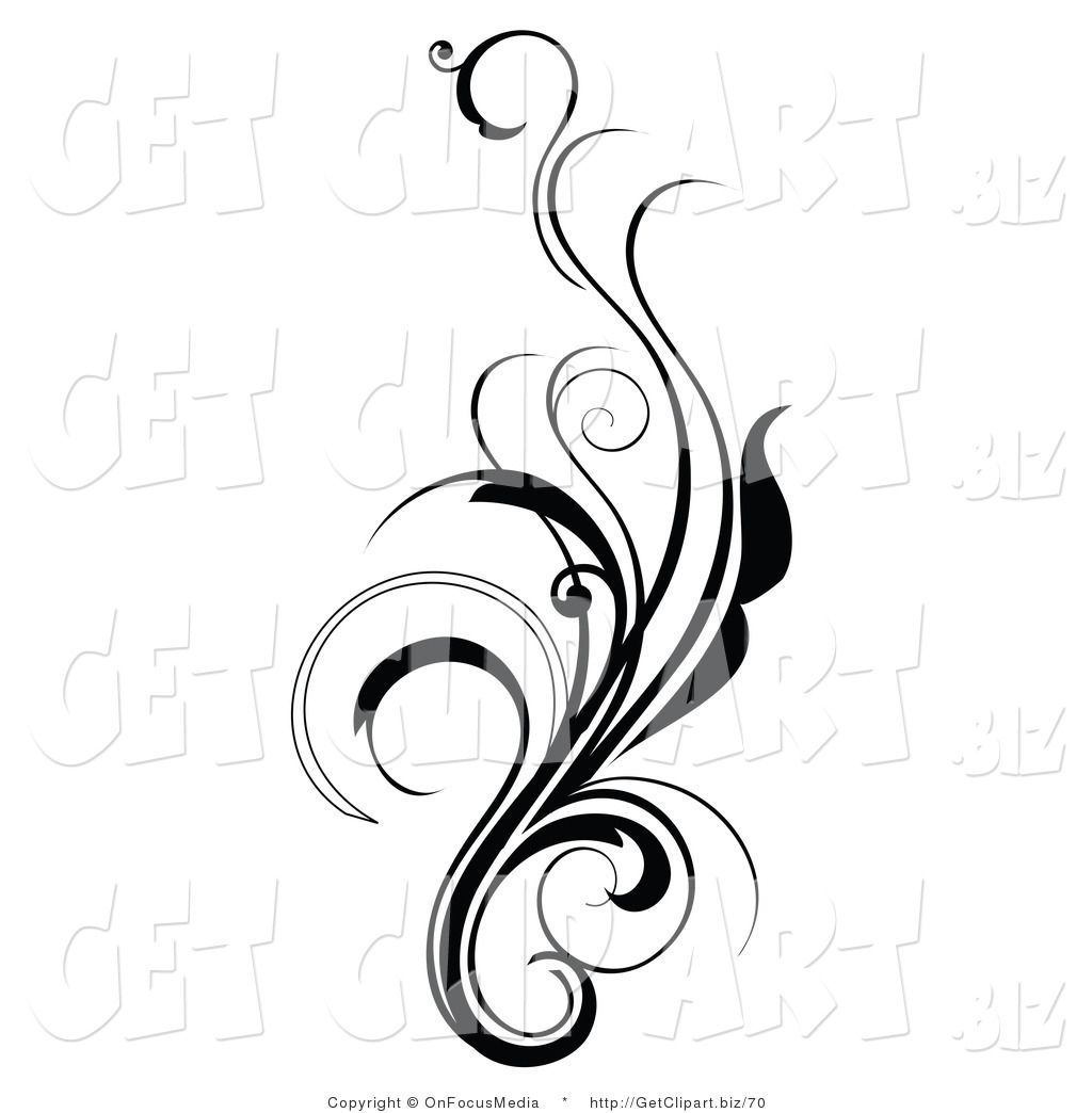 Clip Art Of An Elegant And Curly Black And White Design Scroll Growing Up
