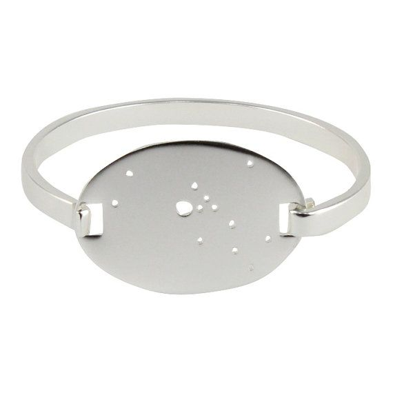 Sterling Silver Plated Taurus Constellation Hinged Bracelet