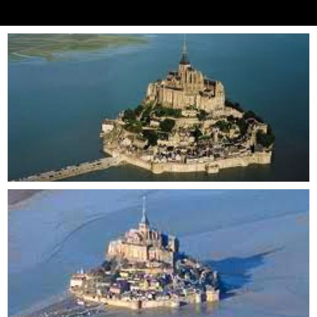 This is the beautiful Mont Saint Michel in France! In the middle of water way, the differences in tides make a huge difference, but never the less beautiful! High tide it's like being in the middle if ocean, low tide is like being in a wet sandy desert!!