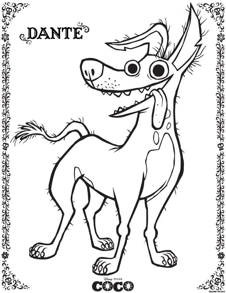 Disney Pixar Coco Coloring Pages And Activity Sheets Free Printables Animal Coloring Pages Disney Coloring Pages Coloring Pages