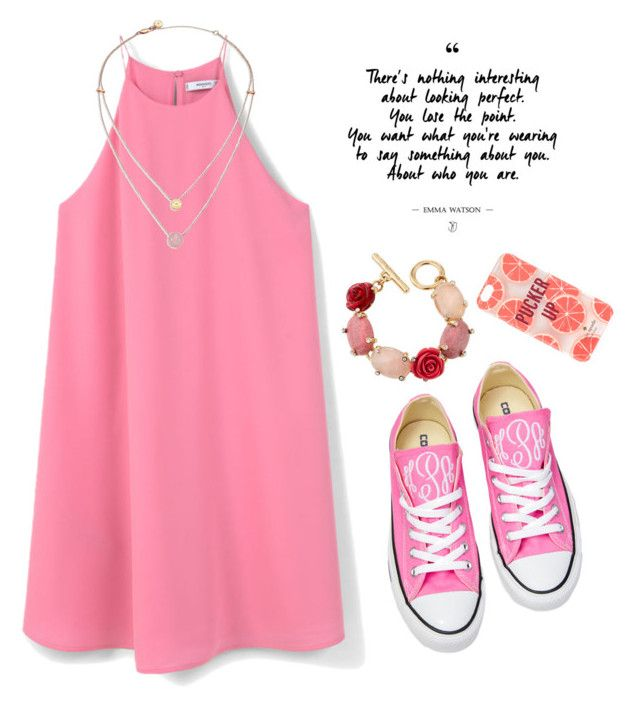 """""""Kate Spade in Pink"""" by kiranightmcneill ❤ liked on Polyvore featuring MANGO, Converse, Oscar de la Renta, Michael Kors and Kate Spade"""