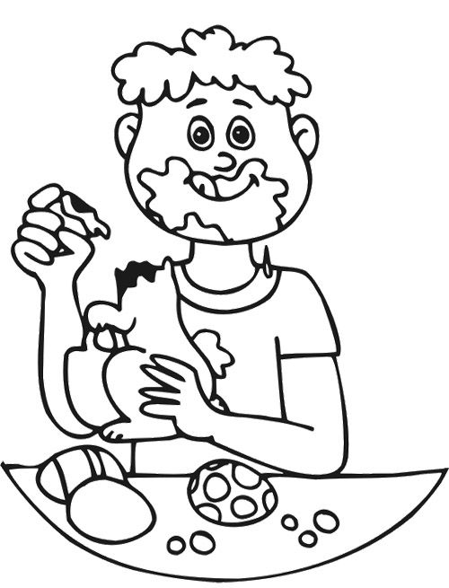 Boy Eating Easter Chocolate Coloring Page | Coloring pages ...