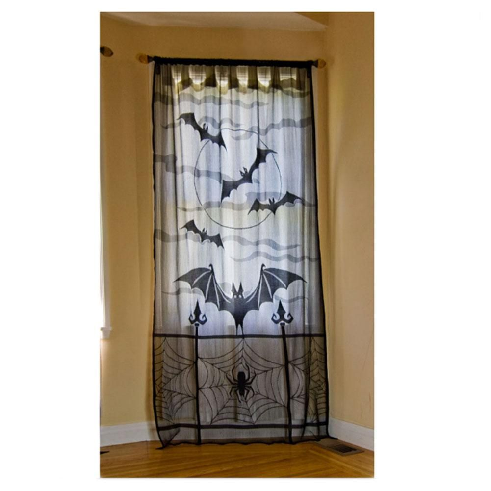 Halloween Black Lace Tulle Sheer Bat Curtains for any Window - Window Halloween Decorations