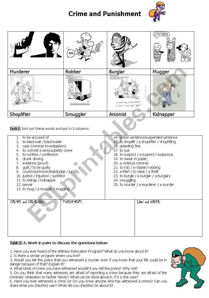 It S A Worksheet About Crime And Punishment It Includes Pictures Of Criminals Discussion Matching Exercise Punishment Worksheets Crime