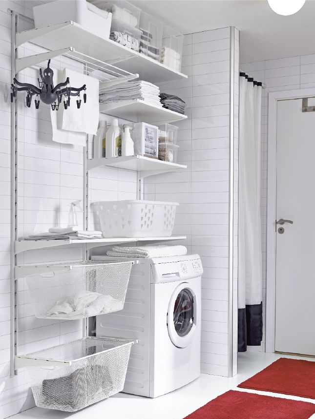 A Wall Mounted Storage System With Adjustable Shelves And Bins Can Help Keep Your Supplies Organized A Ikea Laundry Room Laundry Room Organization Ikea Laundry