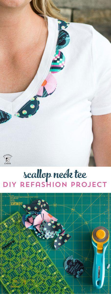 Scallop Neck T-Shirt Refashion Tutorial | Talleres de manualidades ...