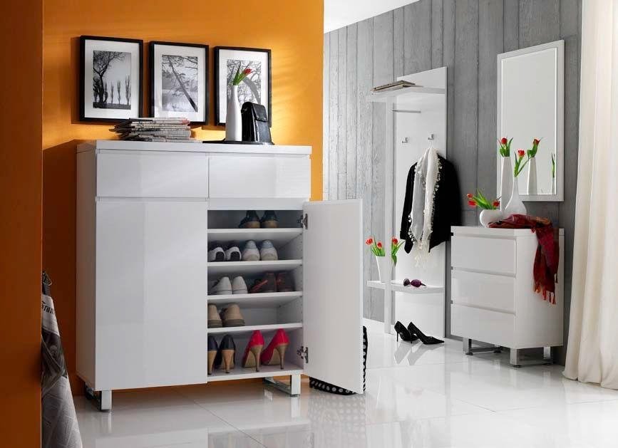 sintia schuhschrank 1 schubkasten 2 t ren hochglanz weiss. Black Bedroom Furniture Sets. Home Design Ideas