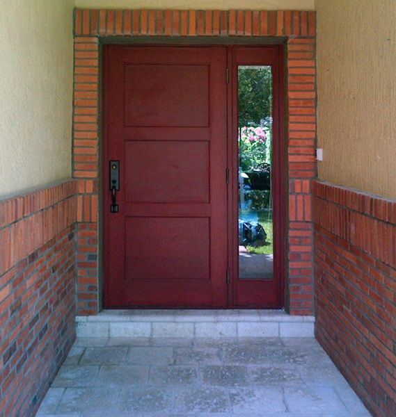 aluminum frame with wood simulated finish entry door installed by