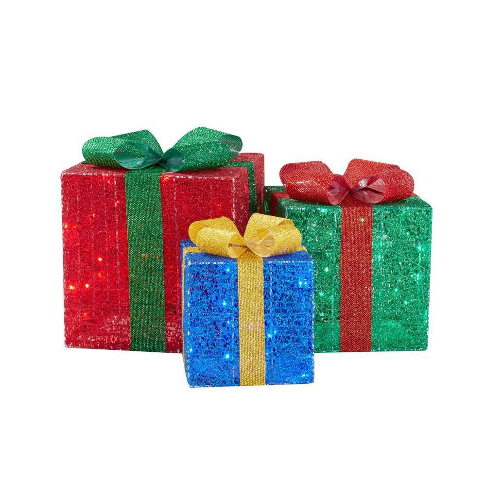Home Accents Holiday 3 Piece Yuletide Lane Led Gift Boxes Outdoor Christmas Decorations Yuletide Outdoor Christmas Decorations Yard