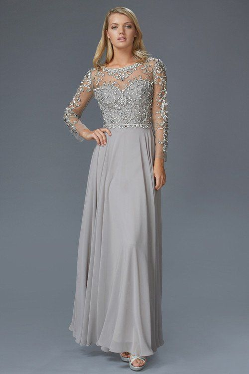 G2129 Sheer Illusion Sleeved Chiffon Mother of Bride Dress Evening ...
