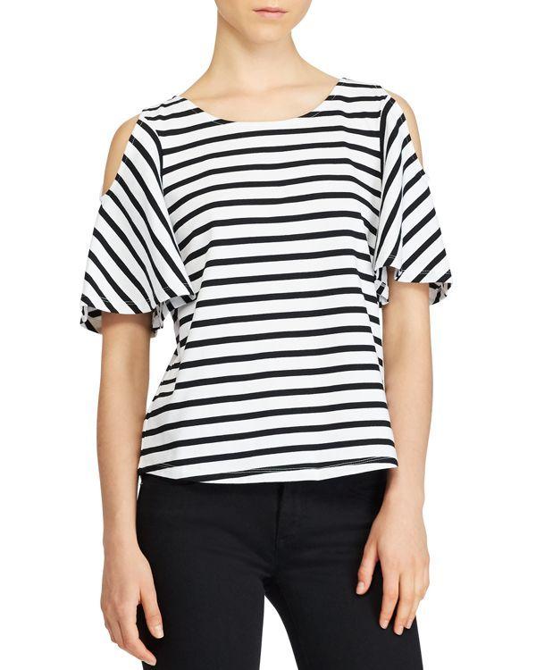 6efa3475239013 Lauren Ralph Lauren Stripe Cold-Shoulder Top