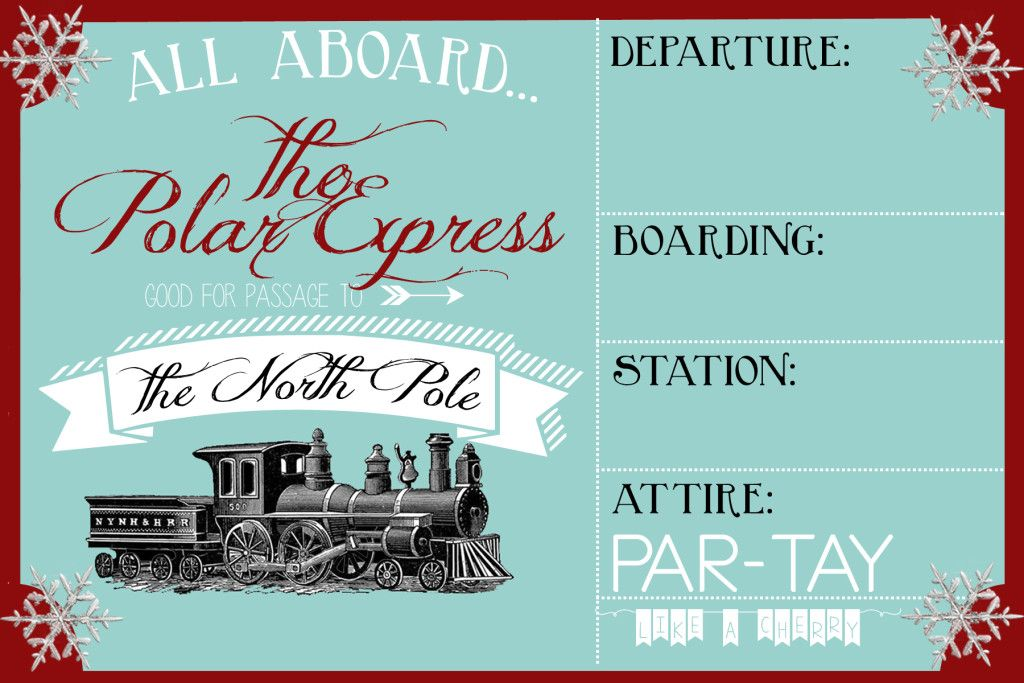 Polar Express Party Invitation in 2018 Party Like a Cherry