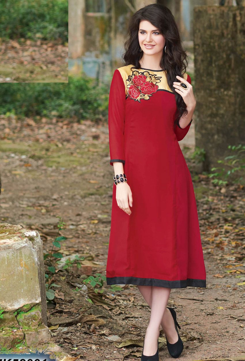 2c887253e8 #Readymade #Red #Georgette #Kurti #nikvik #usa #designer #australia #canada  #Embroidered #embroidery