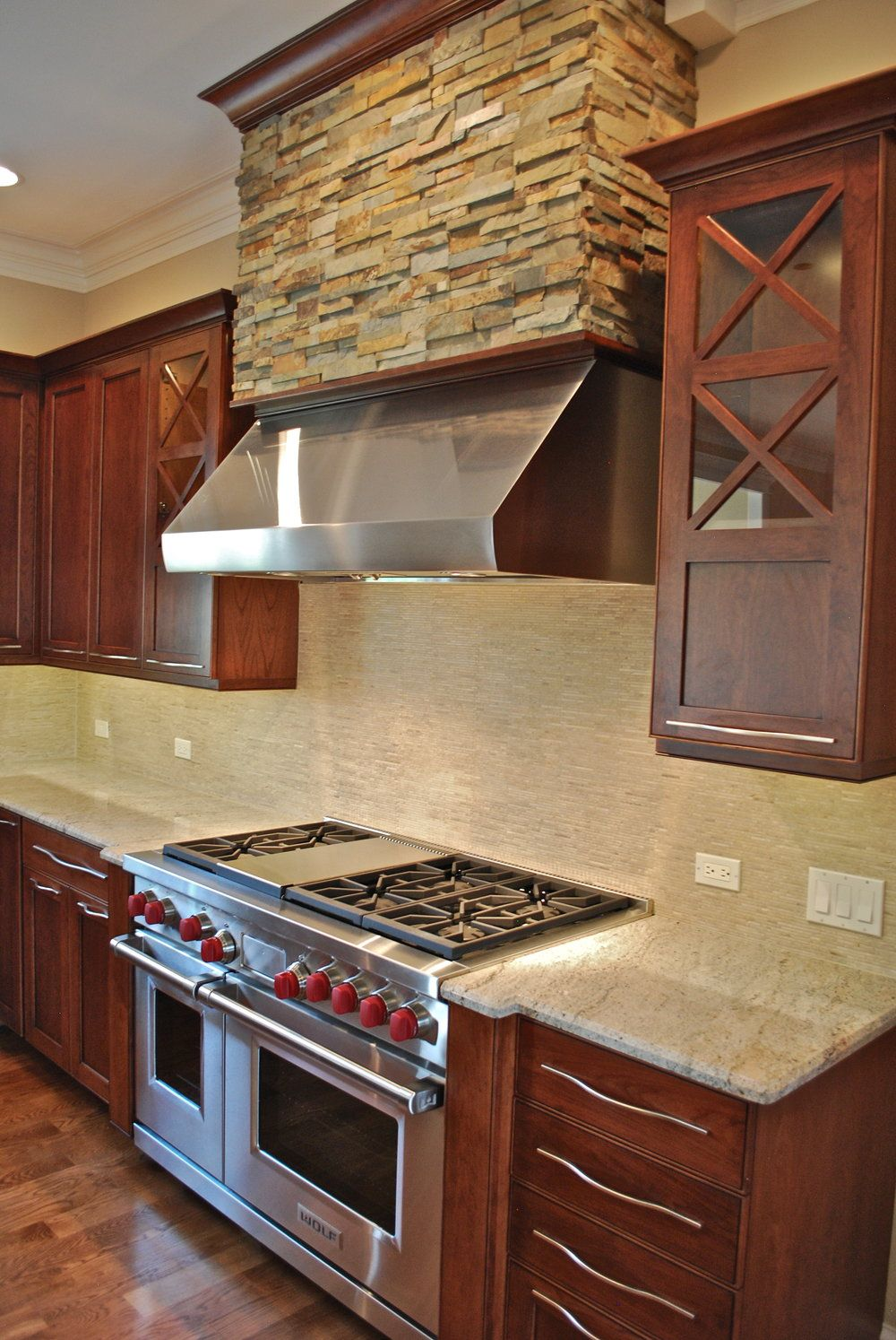 STACKED STONE KITCHEN HOOD WITH STAINLESS VENTILATION IN ...