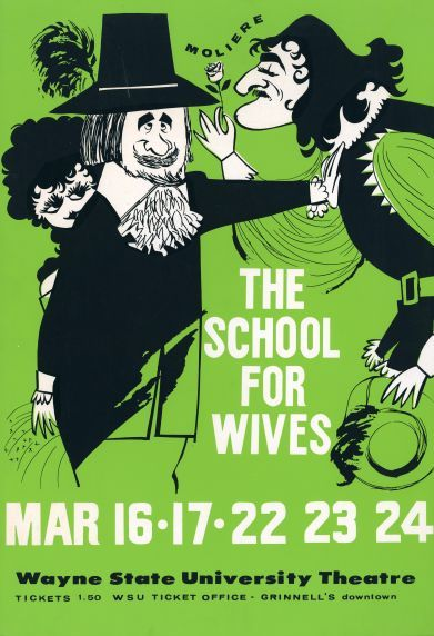 Poster for a university production of Moliere's The School for Wives