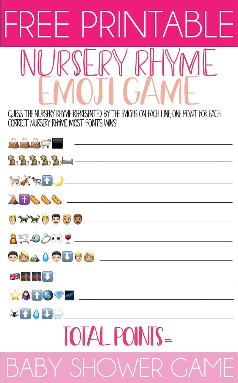 Nursery Rhyme Baby Shower Emoji Game | Nursery rhyme baby ...