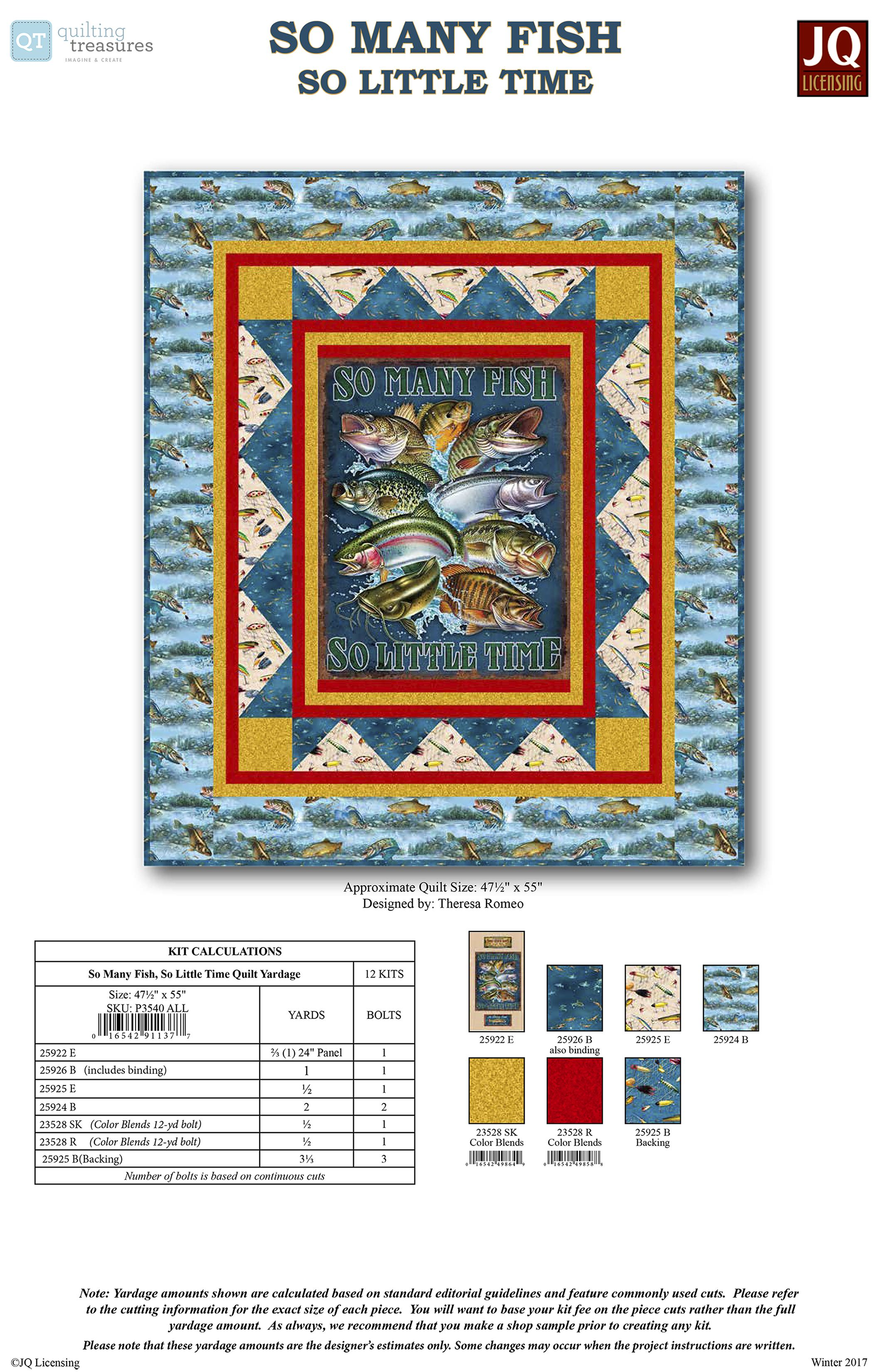 QT Fabrics presents uSo Many Fish So Little Timeu by JQ Licensing