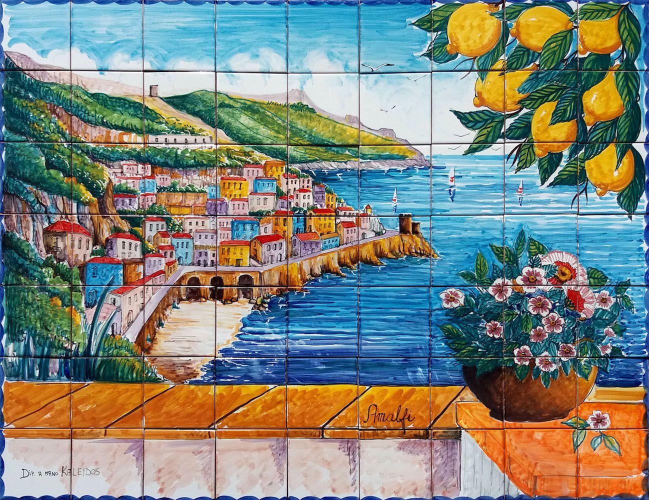 Pannello mosaico veduta della costiera amalfi 90x70 cm Çiniii