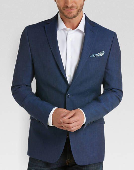 Calvin Klein Blue Linen Extreme Slim Fit Sport Coat | Wedding ...