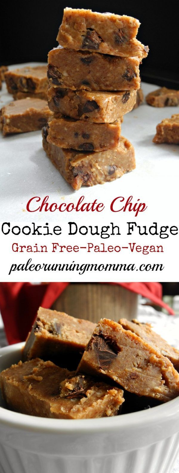 Chocolate Chip Cookie Dough Fudge - Paleo & Vegan #cookiedoughfudge Chocolate Chip Cookie Dough Fudge #glutenfree #grainfree #vegan #paleo #vegancookiedough