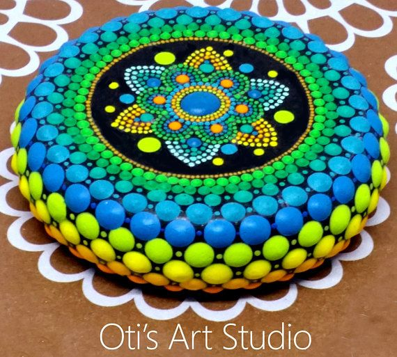 Mandala Hand Painted Stone This precious mandala stone was ...